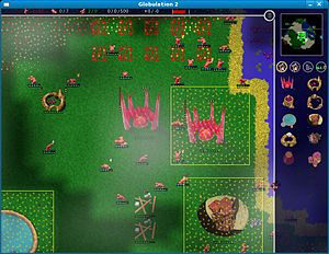 Strategy video game - Strategy games give players indirect control over many units in a battlefield. Many games, for example Globulation 2, include other challenges such as building construction.