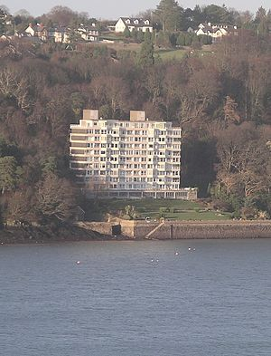 Menai Strait - Glyn Garth flats on the banks of the Menai Strait opposite Upper Bangor