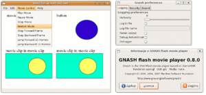 Screenshot of Gnash 0.8.0 GTK+ GUI with test SWF file