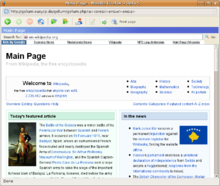Screenshot of Gollum displaying the main page of the English Wikipedia (using Mozilla Firefox on Ubuntu)