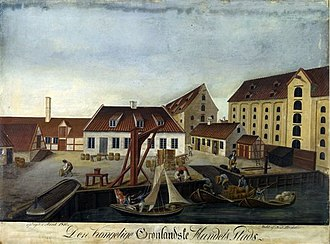 Grønlandske Handels Plads - Royal Greenland Dock painted by N. J. Bredal in 1910