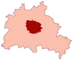 Greater Berlin Act - Pre-1920 municipal limits of the City of Berlin (dark red) within the extended city area of Greater Berlin (light red)