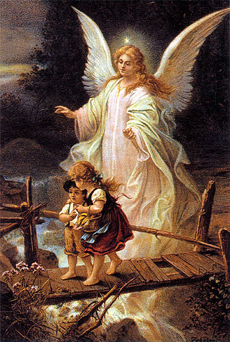 Guardian angel - Guardian angel, German postcard, 1900