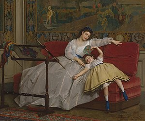Gustave Léonard de Jonghe - Mother with her young daughter