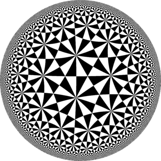 (2,3,7) triangle group - The (2,3,7) triangle group is the group of orientation-preserving isometries of the tiling by the (2,3,7) Schwarz triangle, shown here in a Poincaré disk model projection.