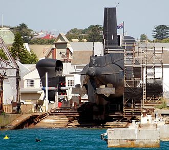 HMAS Ovens - View of Ovens in the Western Australian Maritime Museum dry-dock, as seen from the harbour