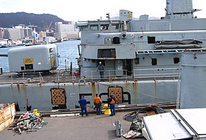 HMNZS Wellington (F69) - Removal of dangerous fittings and toxic substances, cutting of large holes in the hull.