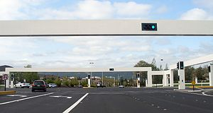 Pleasanton, California - Distinctive traffic lights of the Hacienda Business Park