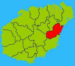 Map showing entire Qionghai area within Hainan province