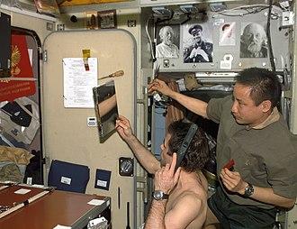 Ed Lu - Image: Haircut in space