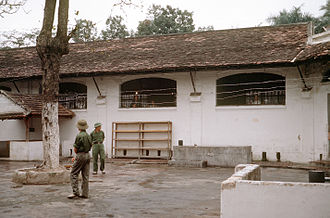 "Hỏa Lò Prison - The ""Little Vegas"" area built for American POWs in 1967, shown in a final inspection in 1973 shortly before the Americans' release"