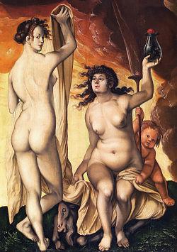 Cuadro representando dos mujeres desnudas acompañadas de un joven demonio y de un macho cabrío, bajo un cielo donde se observa una humareda negra y roja.