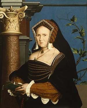 Gable hood - Mary Wotton, Lady Guildenford, wearing a gable hood with pinned up lappets and a hanging veil. Hans Holbein the Younger, 1527.