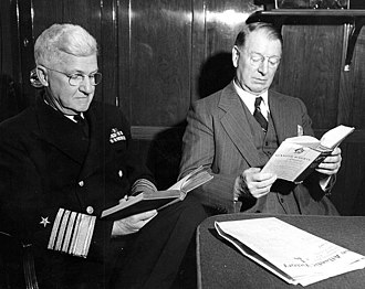 Frank Knox - Admiral Harold R. Stark and Secretary Knox reading on a train in the United Kingdom in 1943
