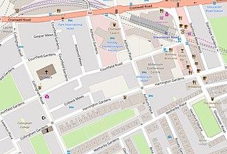 Harrington Gardens - Map of the Harrington Gardens area