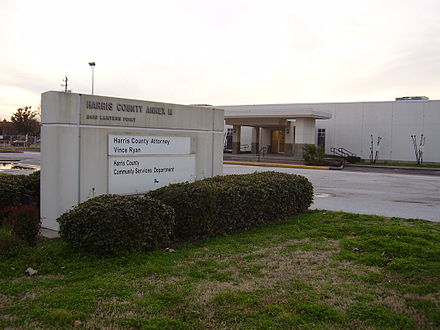 Harris County Annex M has the headquarters of the Harris County Transit agency. HarrisCountyAnnexM8410LanternPoint.JPG