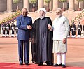 Hassan Rouhani being received by the President, Shri Ram Nath Kovind and the Prime Minister, Shri Narendra Modi, at the Ceremonial Reception, at Rashtrapati Bhavan, in New Delhi (3).jpg