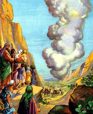 English: He led them by a pillar of cloud, ill...