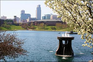 Omaha, Nebraska - View of Downtown Omaha from Heartland of America Park