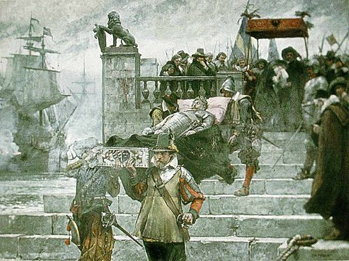 Gustavus Adolphus's body departing Germany for Sweden as imagined by Carl Gustaf Hellqvist in 1885 Hellqvist - Gustaf II.jpg