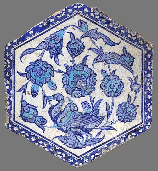 File:Hexagonal Iznik tile with ducks V&A 1680-1892.jpg