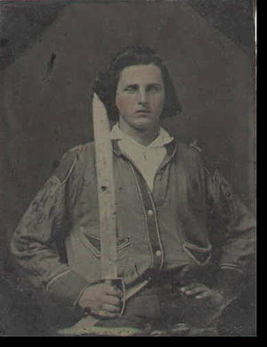 2nd Arkansas Mounted Rifles - Hezekiah L. Cash, Company E photographed in the early 1860s