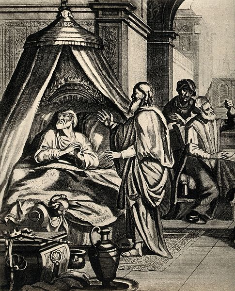 File:Hezekiah lies sick in his bed; a doctor examines his urine. Wellcome V0034331.jpg