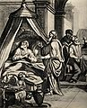 Hezekiah lies sick in his bed; a doctor examines his urine. Wellcome V0034331.jpg