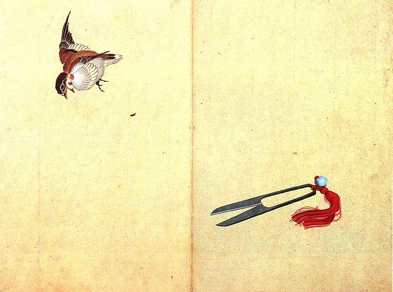 File:Hokusai Pair of sissors and sparrow.jpg