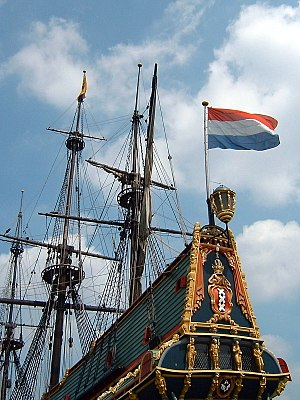 Tricolour (flag) - Image: Holland Batavia at shipyard