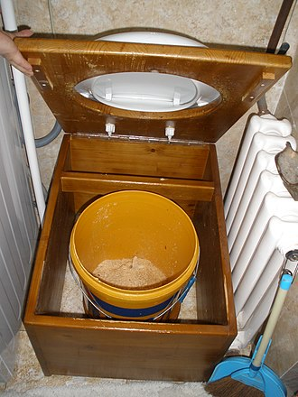 Bucket toilet - Inside view of a bucket toilet in Ulaan Baatar, Mongolia. The bucket has a layer of sawdust at the bottom.