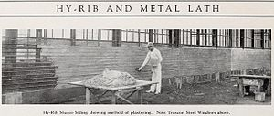 Expanded metal - Expanded metal lath used to support stucco (1919)