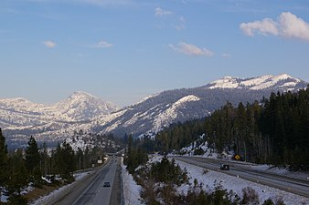 Looking NE along I-80 in the Sierra Nevada from the Yuba Gap overpass