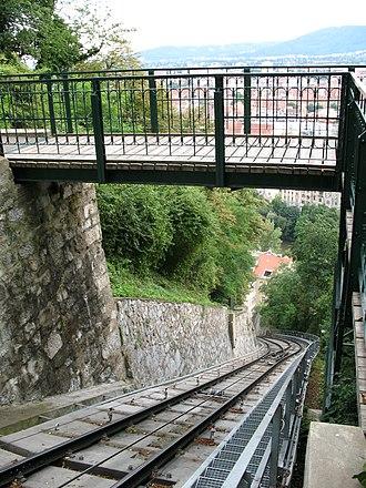 Schlossbergbahn (Graz) - View down the line