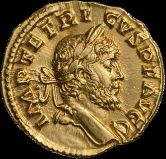 Tetricus I - The obverse of an aureus featuring Tetricus I.