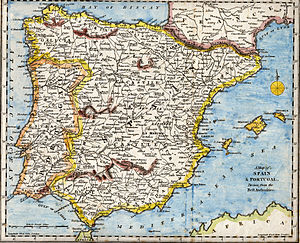 Iberian Peninsula - An 18th-century map of the peninsula depicting various topographical features of the land, as published in Robert Wilkinson's General Atlas, circa 1794.