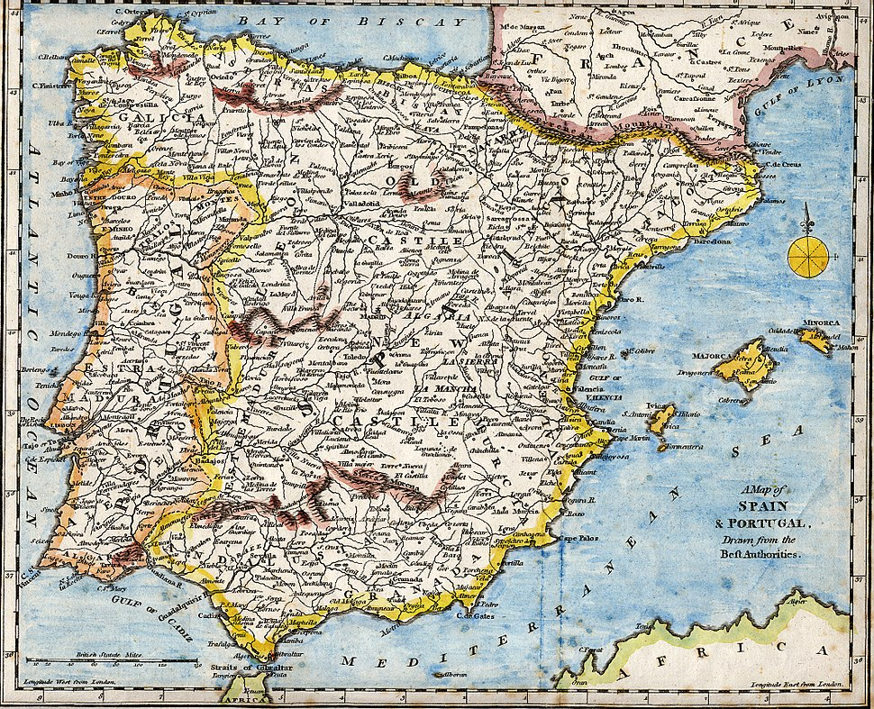 Iberian Peninsula antique map