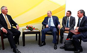 Rex Tillerson - Tillerson with President Vladimir Putin and Igor Sechin, the head of state-controlled energy giant Rosneft, in Tuapse, 2012