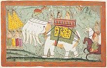 Indra (Sakra) e Sachi cavalcano l'elefante divino a cinque teste Airavata, foglio di un testo giainista, Panchakalyanaka, circa 1670-1680, esposto presso il museo LACMA