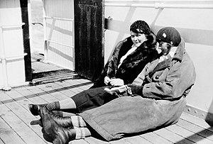 Women in Antarctica - Ingrid Christensen (left) and Mathilde Wegger on a voyage in 1931.