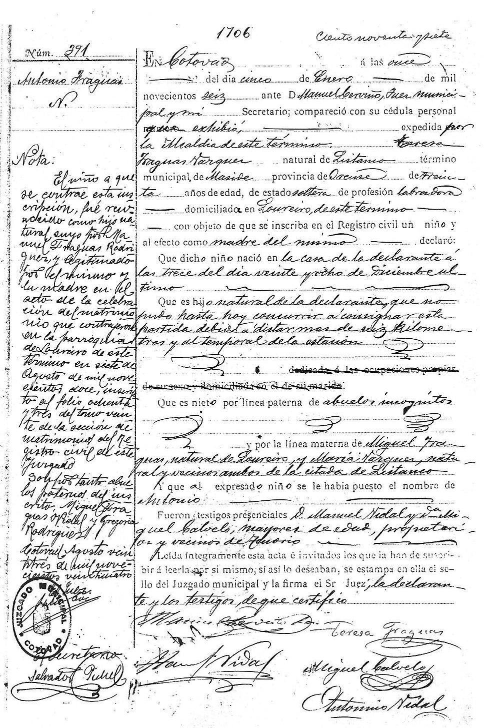 Inscrición de nacemento de Antón. Rexistro civil de Cotobade, 1906.