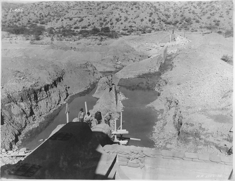 File:Intake diversion dam. General view from south abutment, showing old dam. - NARA - 294577.tiff