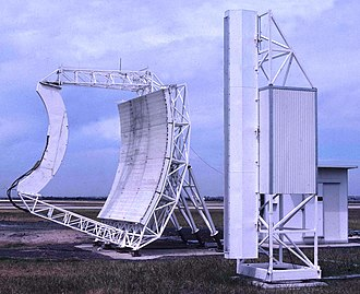 Paul Wild (Australian scientist) - Components of the Interscan precision microwave landing system at Melbourne Airport.