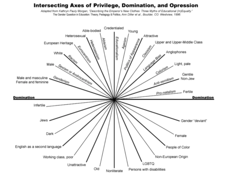 Spherical graphic showing the intersectional paradigms of privilege and discrimination