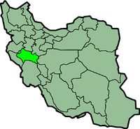 Map of Iran with लूरिस्तान highlighted.