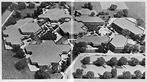 Irvine High School - Early architectural model of Irvine High School as published in the 1976 yearbook, showing the hexagonal design scheme which extends throughout the plan.