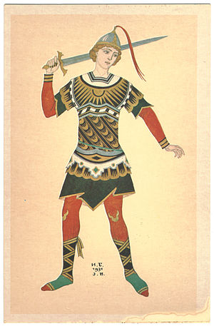 The Firebird - Ivan Bilibin. A warrior — costume design for 1931 performance of The Firebird