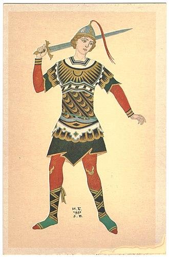 The Firebird - Ivan Bilibin. A warrior — costume design for 1931 performance of The Firebird