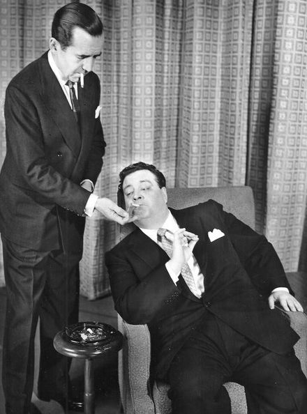 Edward R. Murrow and Gleason when the comedian was the subject of an interview on Person to Person in 1956