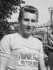Jacques Anquetil wearing a cycling jersey with Saint-Raphaël–Helyett–Hutchinson insignia